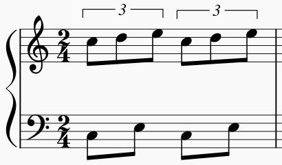 右手3連符 左手8分音符2個