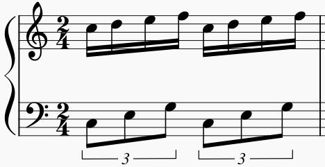 右手16分音符4個 左手3連符